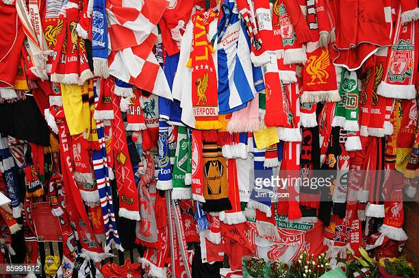 Tributes to the 96 adorn the Shankly Gates during the Hillsborough memorial service at Anfield on April 15 Liverpool, England. Thousands of fans,...