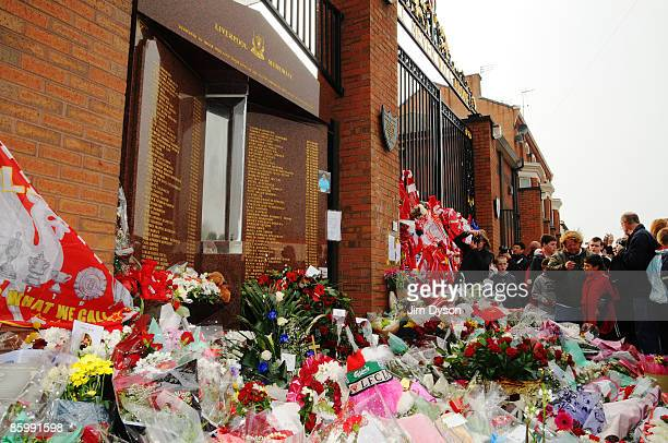 Tributes to the 96 adorn the Shankly Gates during the Hillsborough memorial service at Anfield on April 15 Liverpool England Thousands of fans...