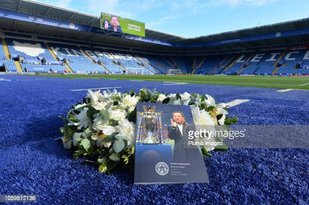 Tributes to the clubs late Chairman Vichai Srivaddhanaprabha at King Power Stadium ahead of the Premier League match between Leicester City and...