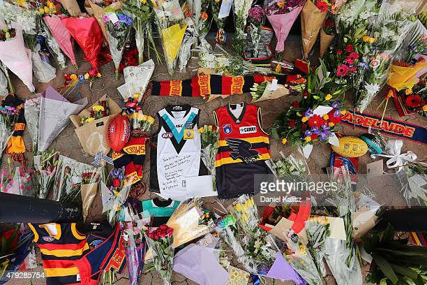Tributes to the Crows late head coach Phil Walsh can be seen at AAMI Stadium on July 3 2015 in Adelaide Australia Adelaide Crows AFL coach Phil Walsh...