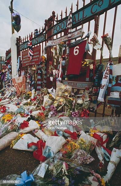 Tributes to the late English footballer Bobby Moore at the gates to West Ham's Boleyn Ground February 1993 Moore who died on 24th February was West...