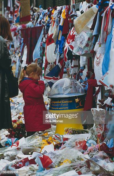 Tributes to the late English footballer Bobby Moore at the gates to West Ham's Boleyn Ground February 1993 Moore who died of cancer on 24th February...