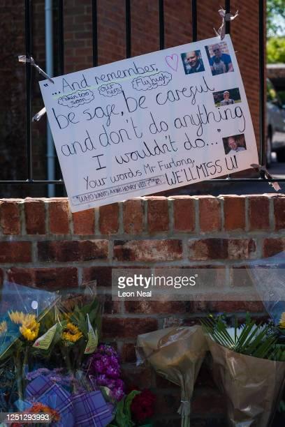 Tributes to the murdered school teacher James Furlong are seen outside The Holt School on June 22 2020 in Wokingham England Khairi Saadallah a...