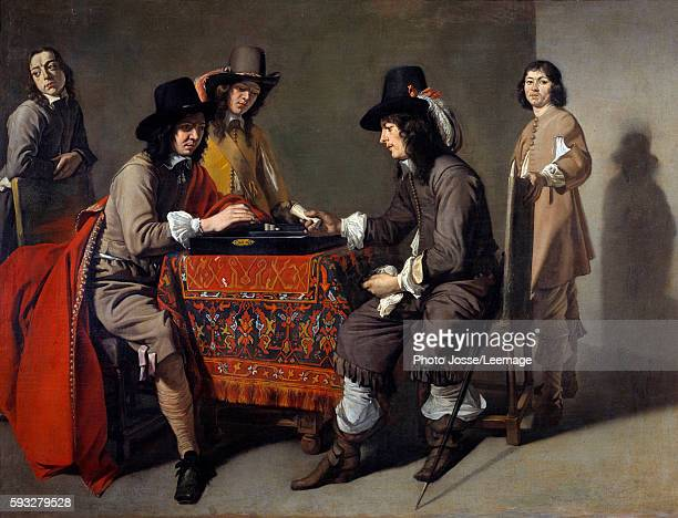 ancient game of backgammon Oil on canvas Painting by Mathieu Le Nain 17th century 96 x 123 cm Louvre Museum Paris