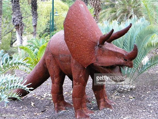 Triceratops Sculpture On Field