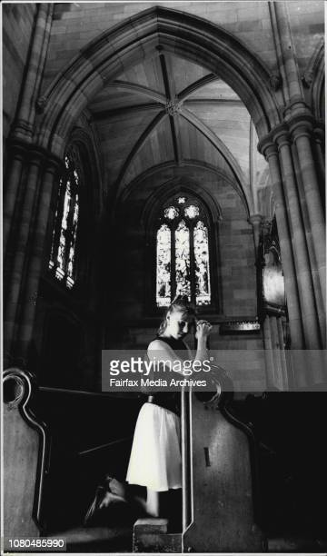 Tricia Black of Bondi prays for peace in the Middle East at St. Mary's Cathedral, Sydney.Miss Tricia Black wandered into St. Mary's Cathedral during...
