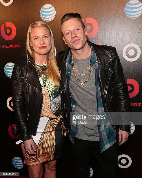 Tricia Davis and Macklemore attend the Beats Music Launch Party at Belasco Theatre on January 24 2014 in Los Angeles California