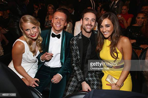 Tricia Davis Ben 'Macklemore' Haggerty Ryan Lewis and Jackie Ganger attend the 56th GRAMMY Awards at Staples Center on January 26 2014 in Los Angeles...