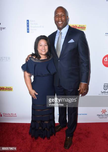 Tricia Dye and Jermaine Dye attend the 17th Annual Harold Carole Pump Foundation Gala at The Beverly Hilton Hotel on August 11 2017 in Beverly Hills...