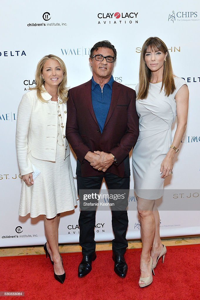 Tricia Elattrache, Sylvester Stallone and Jennifer Flavin attend CHIPS Luncheon Featuring St. John at Beverly Hills Hotel on May 10, 2016 in Beverly Hills, California.