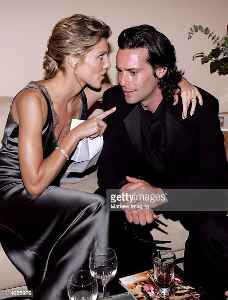 Tricia Helfer and James Callis during 57th Annual Primetime Creative Arts EMMY Awards - Green Room at Shrine Auditorium in Los Angeles, California,...