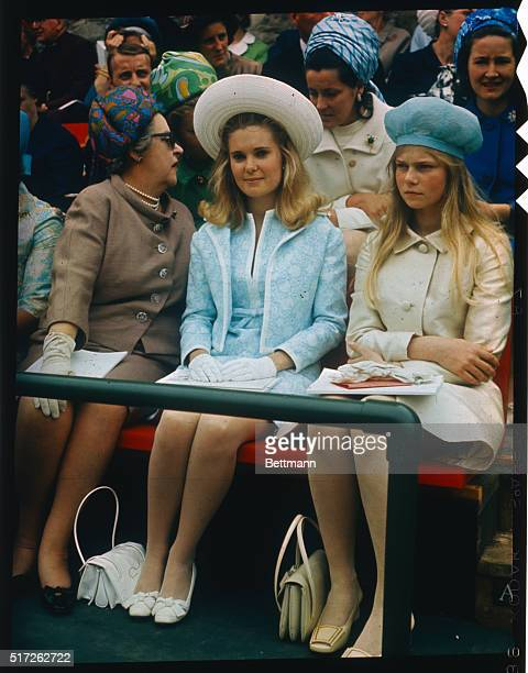 Tricia Nixon daughter of US President Richard Nixon sits next to the Princess of Luxembourg during investiture ceremonies for Prince of Wales at...