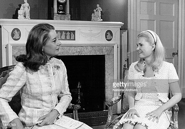 Tricia Nixon speaks with Barbara Walters before an interview April 28, 1972 at the White House.
