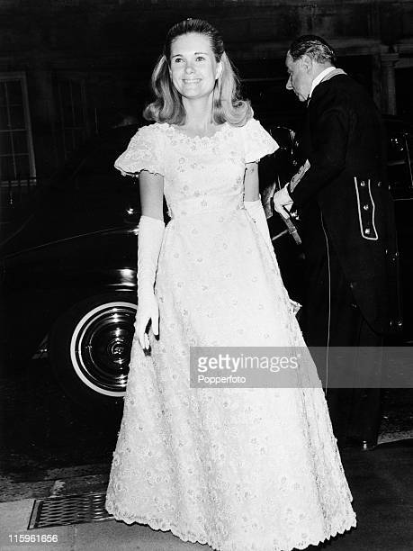 Tricia Nixon the daughter of President Richard Nixon arrives for the EveofIndependence Ball at Claridge's Hotel in London on 3rd July 1969