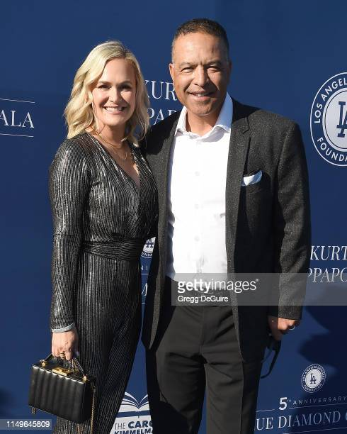 Tricia Roberts and Dave Roberts arrive at the 5th Annual Blue Diamond Foundation at Dodger Stadium on June 12, 2019 in Los Angeles, California.