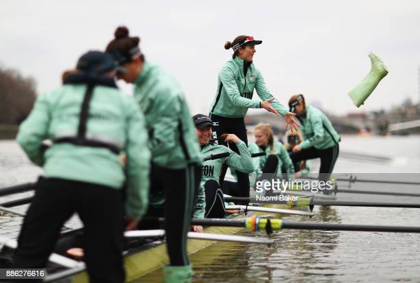 Tricia Smith of Cambridge University Women's Boat Club prepares prior to The Cancer Research UK Boat Race Trial 8s on December 5 2017 in London...