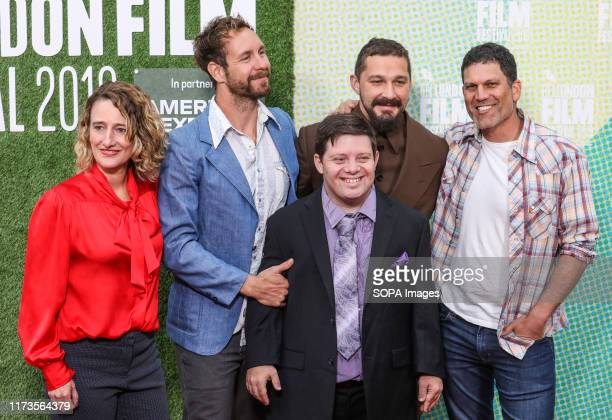 Tricia Tuttle Tyler Nilson Zack Gottsagen Shia LaBeouf and Michael Schwartz attend the premiere of The Peanut Butter Falcon as part of the BFI London...