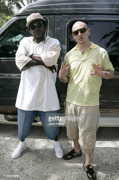 Trick Daddy and Pitbull during Trick Daddy The Annual Back to School Supplies Giveaway Presented by Trick Luvs Da Kids Foundation at Elizabeth...