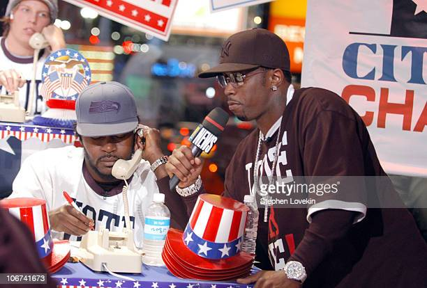 Trick Daddy and Sean P Diddy Combs during Sean P Diddy Combs Rachel Bilson Rosario Dawson and Trick Daddy Visit MTV's TRL November 2 2004 at MTV...