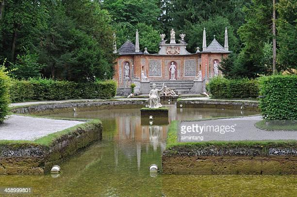 manobra fontes em hellbrunn palace - palácio - fotografias e filmes do acervo