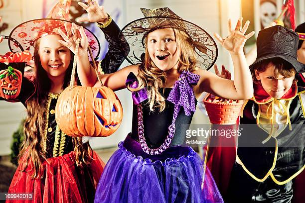 trick or tread? - halloween party stock photos and pictures