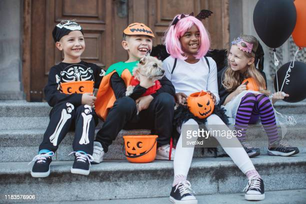 trick or treat gang - trick or treat stock pictures, royalty-free photos & images