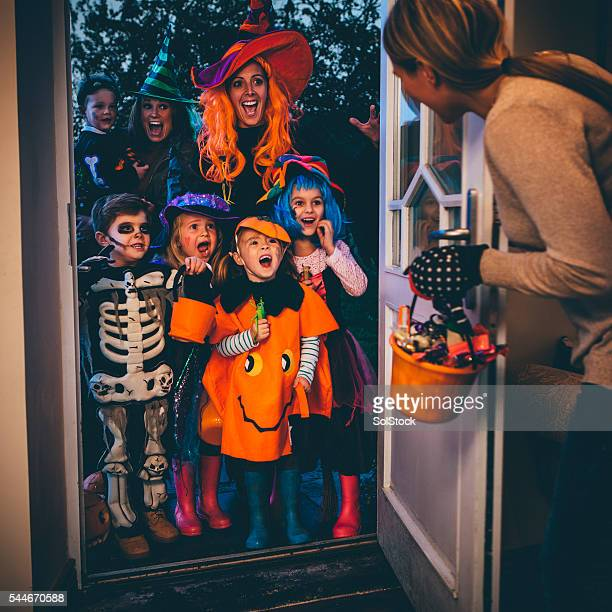 trick or treat! - halloween kids stock photos and pictures