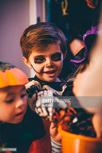 trick or treat! - halloween party stock photos and pictures