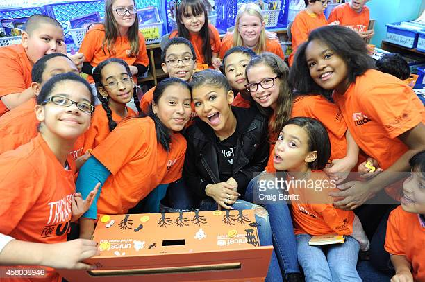 Trick-Or-Treat For UNICEF spokesperson Zendaya visits P.S. 163 Alfred E. Smith Elementary on October 28, 2014 in New York City.
