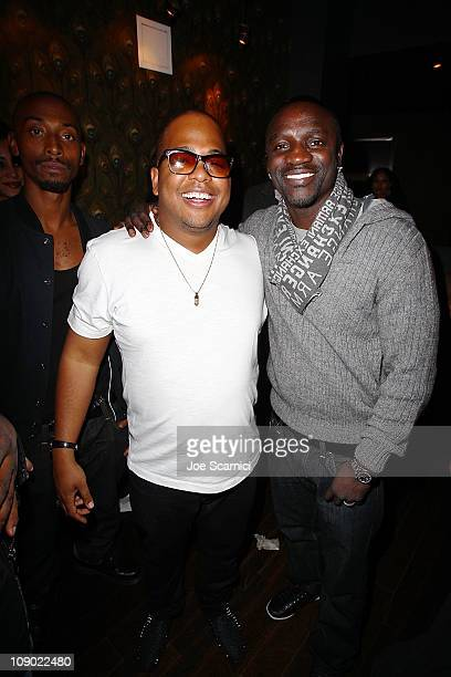 Tricky Stewart and Akon attend the Tricky Stewart And RedZone Entertainment PreGRAMMY Party presented by rdiocom at The Playhouse on February 11 2011...