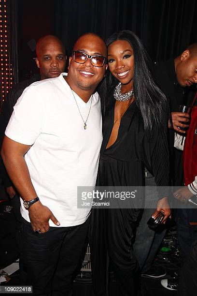 Tricky Stewart and Brandy attend the Tricky Stewart And RedZone Entertainment PreGRAMMY Party presented by rdiocom at The Playhouse on February 11...
