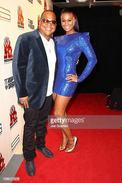 Tricky Stewart and Tmelle attend the Tricky Stewart And RedZone Entertainment PreGRAMMY Party presented by rdiocom at The Playhouse on February 11...