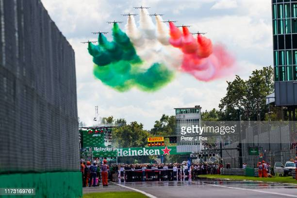 Tricolor Arrows fly past during the F1 Grand Prix of Italy at Autodromo di Monza on September 08, 2019 in Monza, Italy.