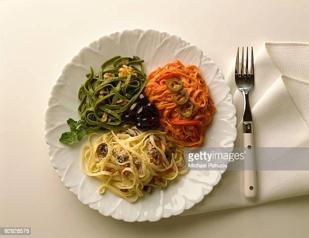 Tri-colored pasta entree