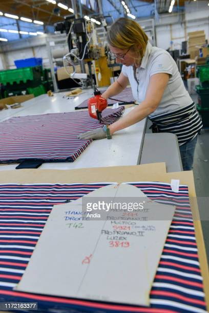 Tricots Saint James garment factory in Saint-James , traditional sailor's jersey and Breton striped shirt production workshop. Company awarded the...