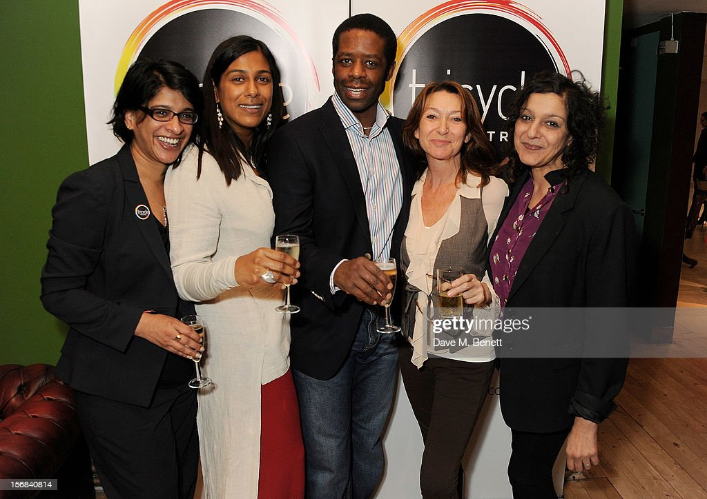 Tricycle Theatre artistic director Indhu Rubasingham, Lolita Chakrabarti, Adrian Lester, Cherie Lunghi and Meera Syal attend Tricycle Theatre's 'Red Velvet: The Director's Party' on November 22, 2012 in London, England.