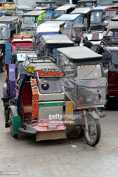 tricycles parked in banaue, philippines - filipino flag stock pictures, royalty-free photos & images