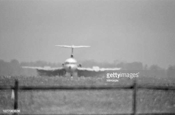A Trident jet LANDS on the runway at Heathrow Airport takes off in the high heat of 25th June 1976 when temperatures reached into the 90 degrees The...