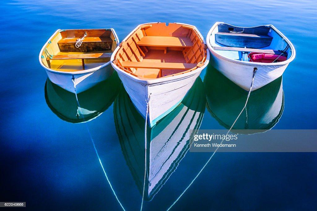 Trident of Rowboats : Stock Photo