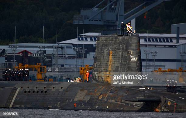 Trident submarine makes it's way out from Faslane Naval base on September 23, 2009 in Faslane, Scotland. British prime minister Gordon Brown, will...