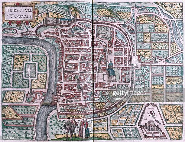 Trente engraved by Giovanni Andrea Vavassore in 1562 in volume III of 'Civitates Orbis Terrarum' published in six parts between 1572 and 1617 by...
