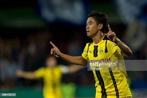 Trier, Germany , DFB-Pokal 1. Runde, SV Eintracht Tier 05 - BV Borussia Dortmund, 0:3, Shinji Kagawa jubelt nach seinem treffer zum 0:1