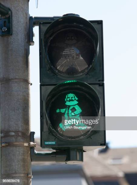 Trier in the sign of the 200th birthday of Karl Marx Karl Marx as a traffic light male in the city center of Trier