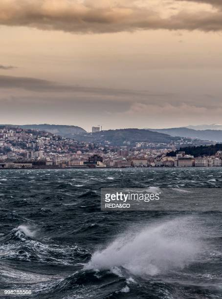 Trieste city and the Adriatic Sea during the wind phenomenon called Bora FriuliVenezia Giulia Italy Europe Photo by Carlo Borlenghi/REDACO/Universal...