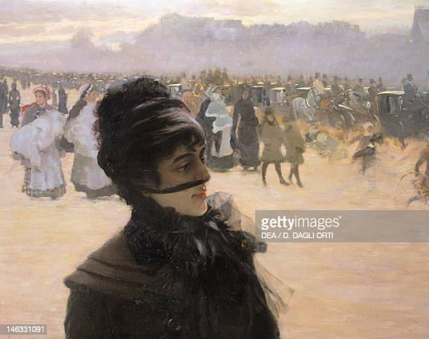 Trieste, Museo Revoltella, Galleria D'Arte Moderna Returning from the Bois de Boulogne, lady with a dog by Giuseppe de Nittis , oil on canvas, 152x90...