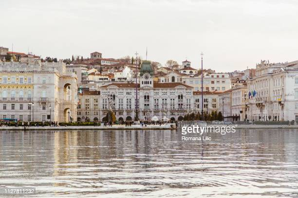 trieste town views from the sea - トリエステ ストックフォトと画像