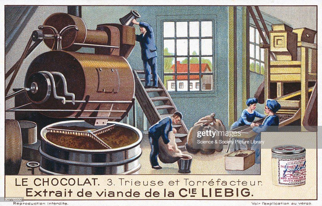 A chocolate factory at work, Liebig trade card, early 20th century. : News Photo