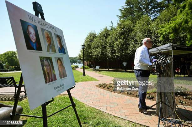 Trif Alatzas, publisher and editor-in-chief of The Baltimore Sun, speaks at the dedication of a Memorial Garden at the Actons Cove Waterfront Park in...