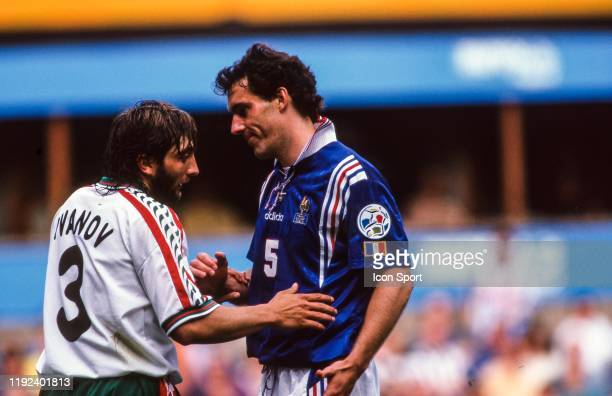 Trifon Ivanov of Bulgaria and Laurent Blanc of France during the European Championship match between France and Bulgaria at St James Park Newcastle...
