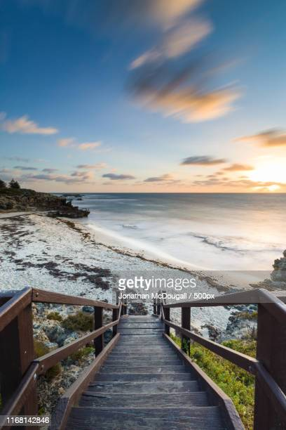 trigg beach staircase at dusk - perth australia stock pictures, royalty-free photos & images